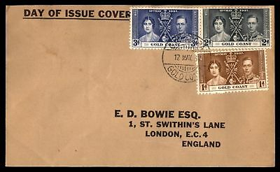 Mayfairstamps Gold Coast 1937 Coronation Set on FDC to England Black Cachet seal