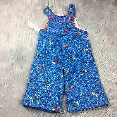 New Vintage Deadstock Quilted Blue Floral Rosebud Overalls Sz 9m Baby Girl