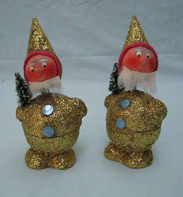 Vtg Pair West German Christmas Bobble Head Gold Glitter Santa Candy Containers