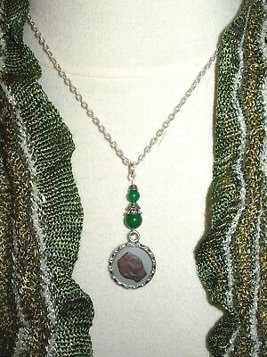 Original Ancient Biblical Widows Mite Coin Necklace Pendant with Jade Beads