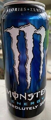New Monster Energy Absolutely Zero Drink 16 Fl Oz Full Can Zero Sugar & Calories