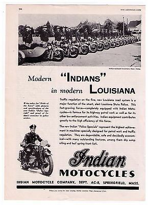 "1938 Indian Motorcycle ""Modern Louisiana' State Police Motorcycle Print Ad"