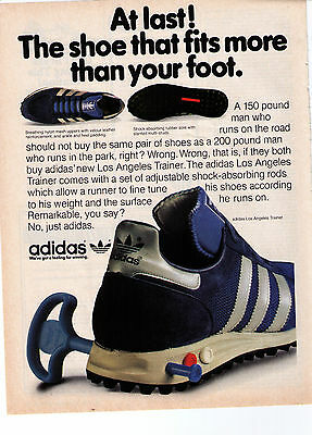 """1981 Adidas LA Trainer """"Shoe That Fits More Than Your Foot"""" Shoe Print Advert"""