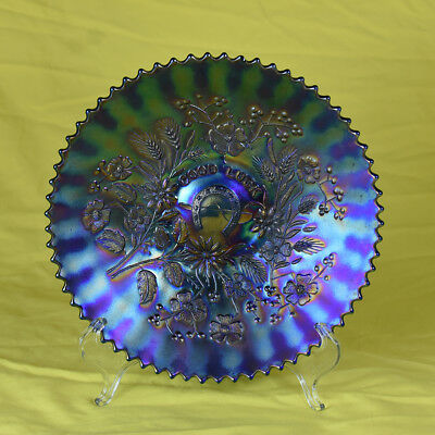 A fine ELECTRIC BLUE Carnival Glass Good Luck Plate by Northwood