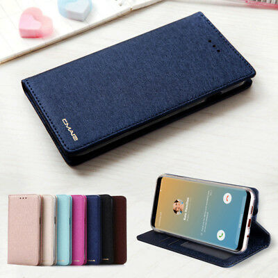Luxury Wallet Silk Leather Magnetic Flip Case Cover For Samsung Galaxy S9 Note 9