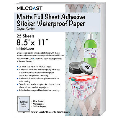 "Milcoast Matte Colored Full Sheet 8.5 x 11"" Adhesive Waterproof Craft Paper"