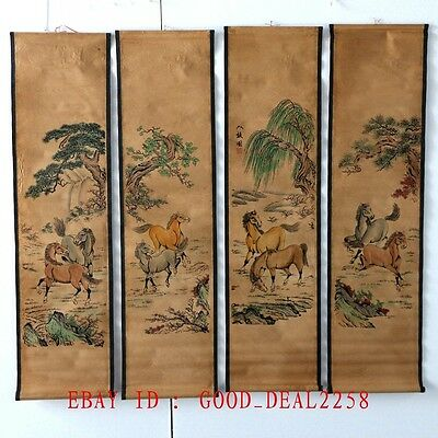 A Set of 4Pcs,Old Collection Scroll Painting:Ancient Chinese 8 well-known horses