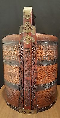 "Stunning Antique 24"" Three Tier Chinese Marriage Or Food Basket Exceptional Cond"