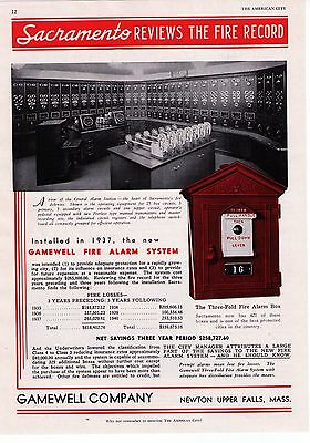"""1941 Gamewell Fire Alarm System """"Sacremento's Fire Record""""  Print Advertisement"""