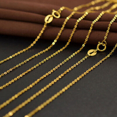 """Real 18K Gold Plated 18"""" Cable Chain Necklace Thin Plain XA"""