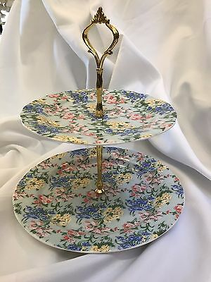 NEW 2 layer porcelain spring floral cake stand yellow blue green pink gold tone