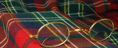Antique S.P.A. Oval Eyeglasses BIFOCAL Glued on GLASS, YELLOW Gold Filled Wire