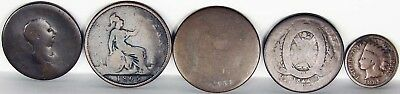 5 ANTIQUE Coins from the 1800's - 4 British Coins and 1 Indian Penny 1886 U.S.