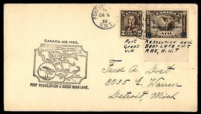 Mayfairstamps FORT RESOLUTION NWT FIRST FLIGHT DEC 6 1932 COVER TO GREAT BEAR LA