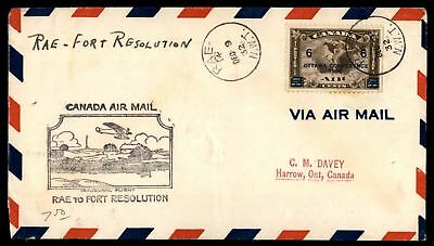 Mayfairstamps RAE NWT FIRST FLIGHT DEC 9 1932 AIR MAIL COVER TO FORT RESOLUTION
