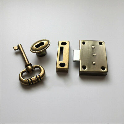 Home Cabinet Drawer Door Key+Lock Set Antique Finish Replacement Accessories UDW