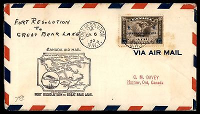 Mayfairstamps FORT RESOLUTION NWT FIRST FLIGHT DEC 6 1932 AIR MAIL COVER TO GREA