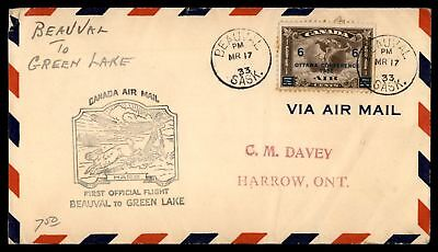 Mayfairstamps BEAUVAL SASK FIRST FLIGHT MAR 17 1933 HARE CACHET ON COVER TO GREE