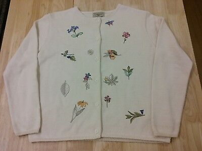 Longaberger embroidered Long Sleeve Sweater Flowers Leaves Cream Size M