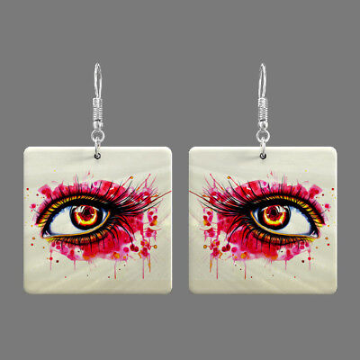 Natural Mother of Pearl Shell Eye Earrings Square Drop Jewelry S1706 0110