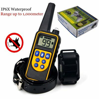 Electric Remote Dog Training Shock Collar 1000meter Waterproof Rechargeable LCD