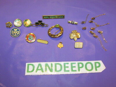 Vintage Lot of 21 Piece Assorted Girl Scout Recognition Achievement Member Pins