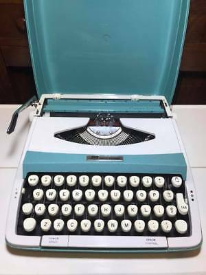 Vintage Blue and White Smith Corona Corsair 710 Typewriter Made in England