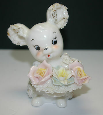 VINTAGE 1950s HAND PAINTED WHITE PORCELAIN SPAGHETTI MOUSE, #5686, MADE IN JAPAN