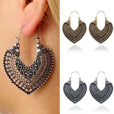 Women's Vintage Bohemian Boho Style Heart Shaped Hollow Carved Pierced Earrings