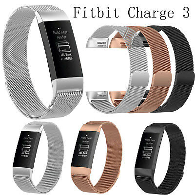 Magnetic Milanese Stainless Steel Watch Band Strap Fitbit Charge 3 Replacement