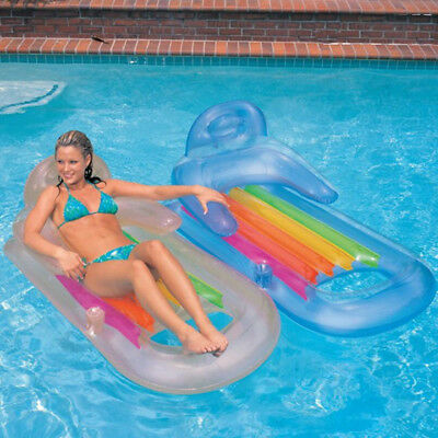 Inflatable Swimming Pool Lounger Air Bed Mattress Float Chair Lounge Lilo Beach