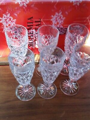 Set Of 6 Beautiful-Vintage-Hand-Cut-Crystal Champagne Glasses Flutes