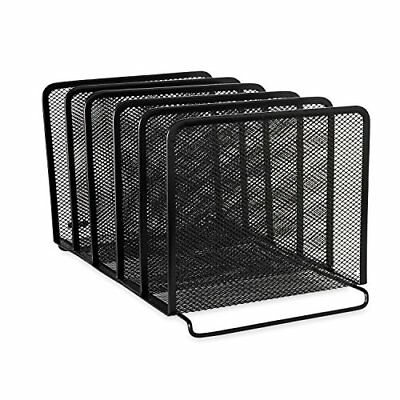 Rolodex Mesh Collection Stacking Sorter 5-Section Black 22141