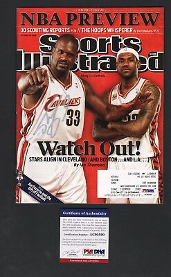 Shaquille O'Neal & LeBron James Signed Sports Illustrated Basketball PSA/DNA