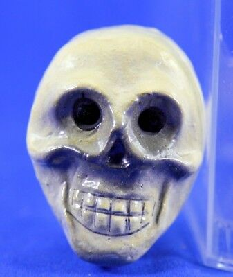 Vintage Paper Mache German Skull Halloween Horn With Wood Mouthpiece