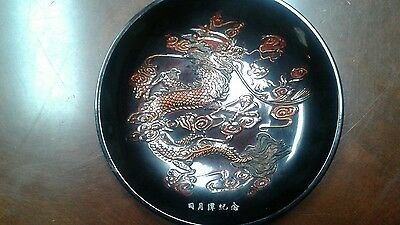 """Vintage Black Lacquer 11"""" Eastern Saucer Bowl with Raised Dragon"""