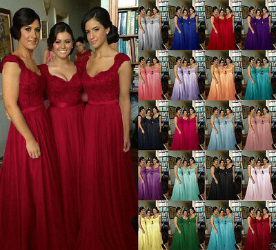 Long Formal Chiffon Wedding Lace Evening Party Ball Gown Prom Bridesmaid Dresses