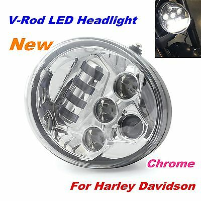 Chrome Hi Lo LED Headlight for Harley Davidson V Rod VROD VRSC VRSCA VRSCX 02-17
