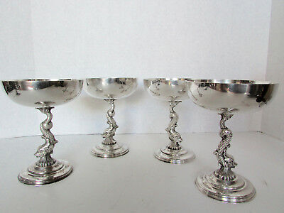 Set of 4 Dophin silverplate champagne wine stem ware