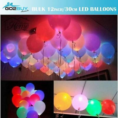 "Bulk 10/20/30PC LED Balloons 30cm/12"" Light Disco Party Wedding Birthday Glow"