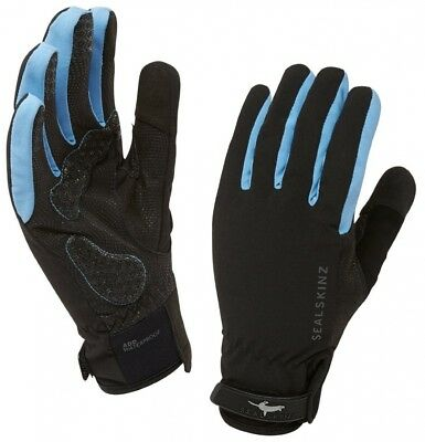 (Medium, Black/Sky Blue) - Sealskinz Women's All Weather Cycle Gloves