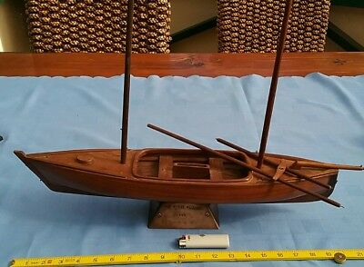 Antique Vintage Model Yacht Boat Cocos Keeling Islands Carved Wooden 1973