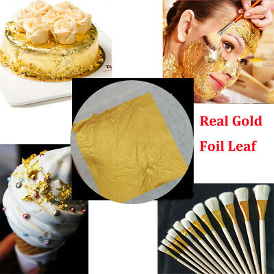 10x Real Gold Foil Leaf 99.99% Pure 24K Food Cake Decor Edible Face Beauty XA