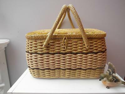 Vintage RETRO Woven SEWING Box with inside ORGANISER Basket QZZQ Adelaide