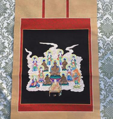 OUTSTANDING VINTAGE CHINESE or TIBETAN c.1970s BUDDHIST THANGKA SCROLL PAINTING