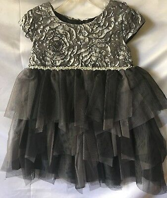 608be0ec2 Isobella and Chloe Girls Silver Gray/Black Cap Sleeve Ruffle Dress Size  12M-New