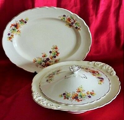 Vintage Royal Staffordshire Wilkinson Bramble Pattern Tray & Soup Tureen C 1947