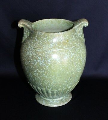 Art Deco Crown Devon Vase Vintage Ceramic 2 Tone Green Sponge Glaze C 1930-35