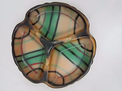 Vintage Erphila Czechoslovakia Tartan 3 Section Divided Relish Dish