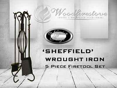 SHEFFIELD Wrought Iron Design  5 piece fireplace tool set.FIRE TOOLS FIRETOOLS